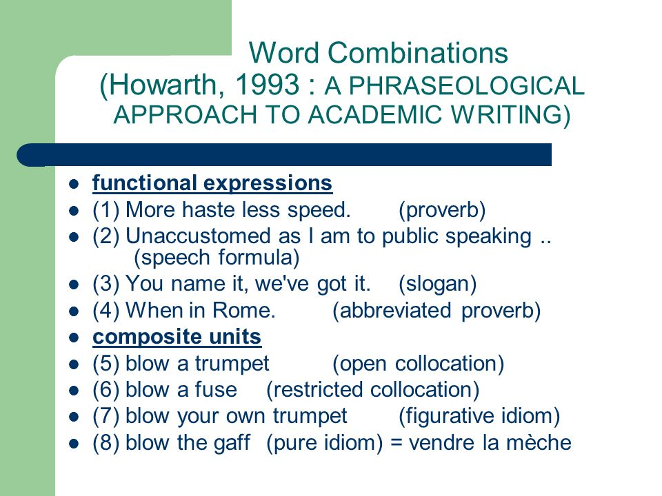 Word Combinations (Howarth, 1993 : A PHRASEOLOGICAL APPROACH TO ACADEMIC WRITING)