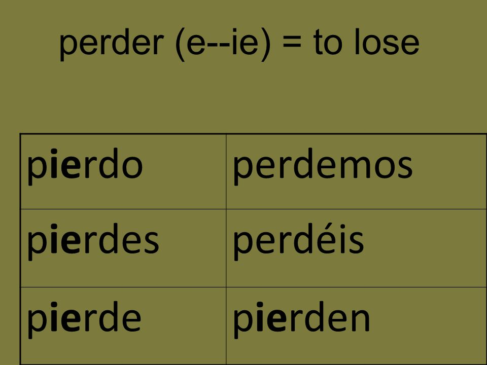 perder (e--ie) = to lose