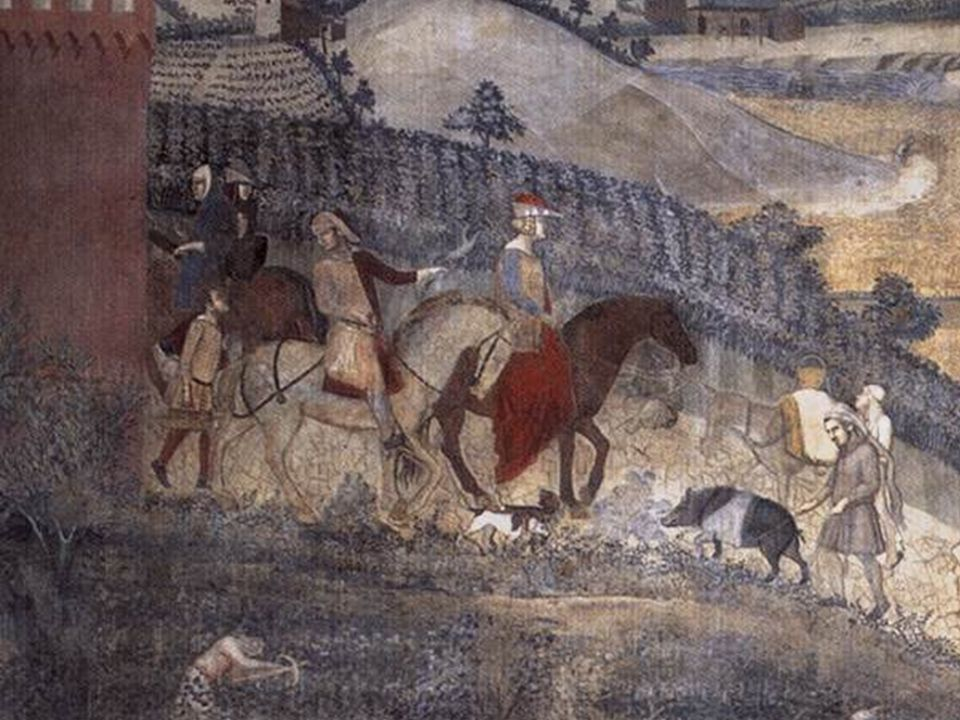 Ambrogio Lorenzetti detail: Effects of Good Government in the Countryside