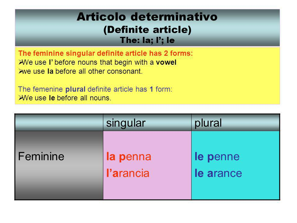 Articolo determinativo (Definite article) The: la; l'; le