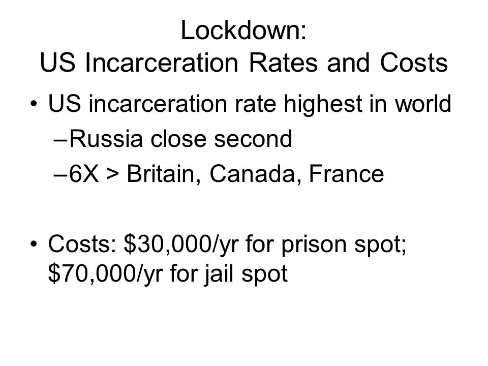 Lockdown: US Incarceration Rates and Costs