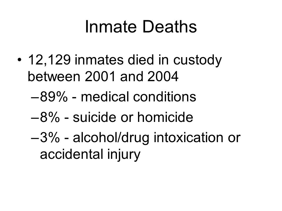 Inmate Deaths 12,129 inmates died in custody between 2001 and 2004