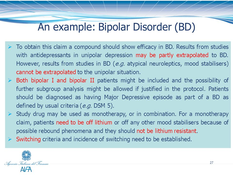 An example: Bipolar Disorder (BD)