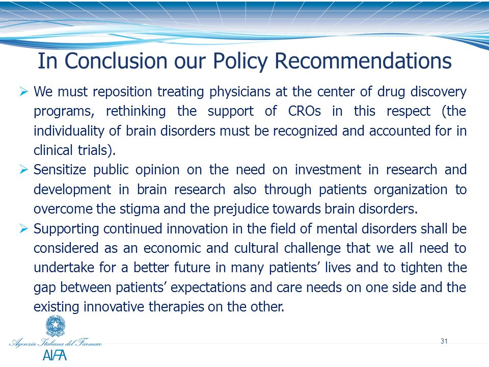 In Conclusion our Policy Recommendations