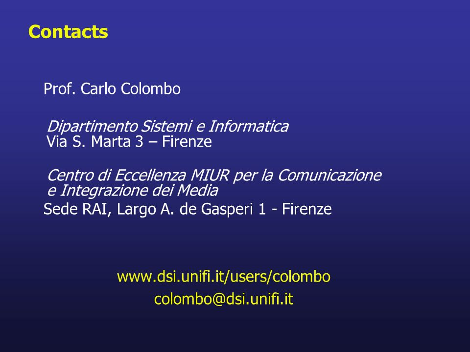 Contacts Prof. Carlo Colombo
