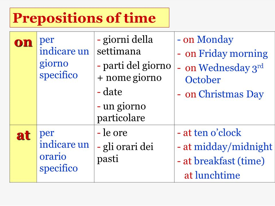 Prepositions of time on at per indicare un giorno specifico