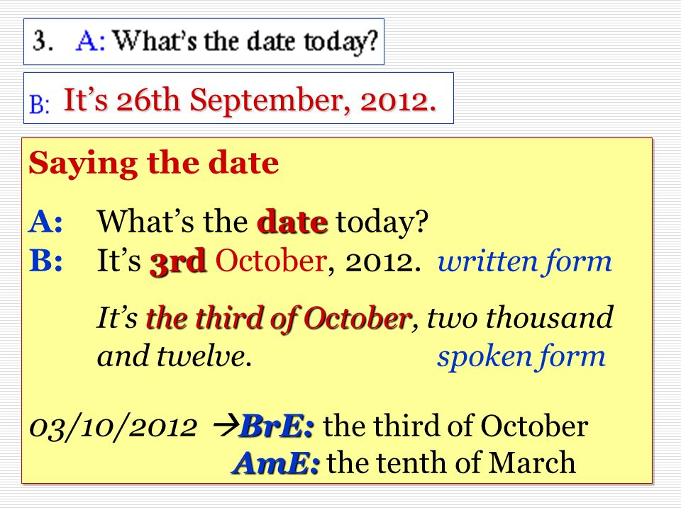 It's 26th September, 2012.