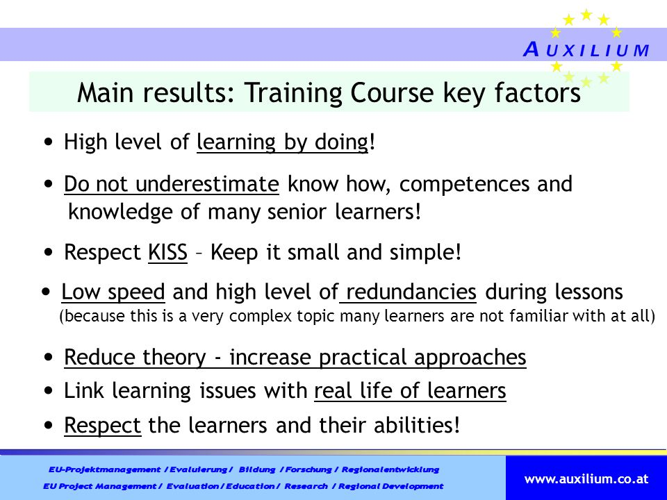 Main results: Training Course key factors