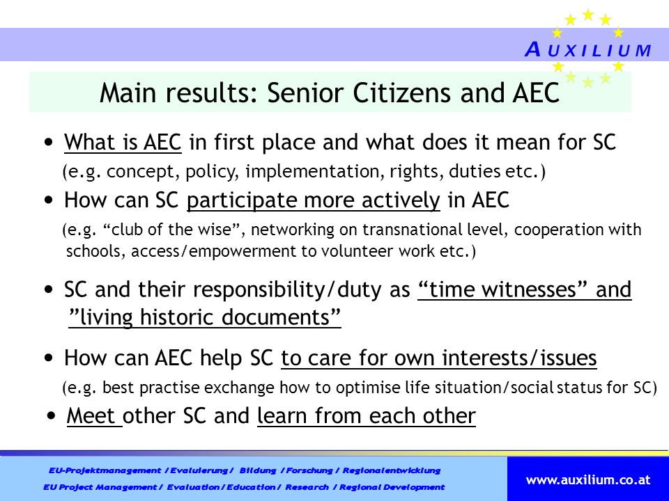 Main results: Senior Citizens and AEC