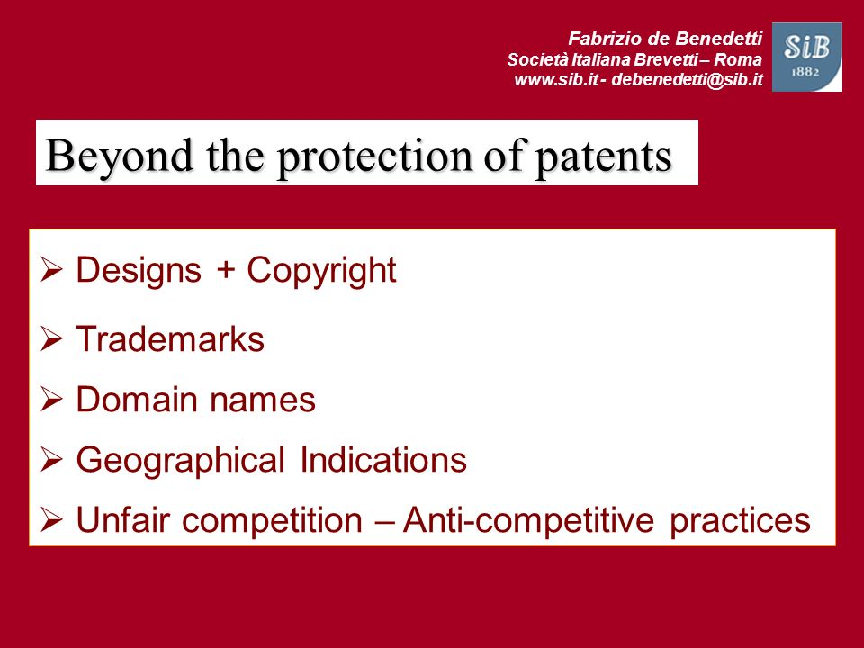 Beyond the protection of patents