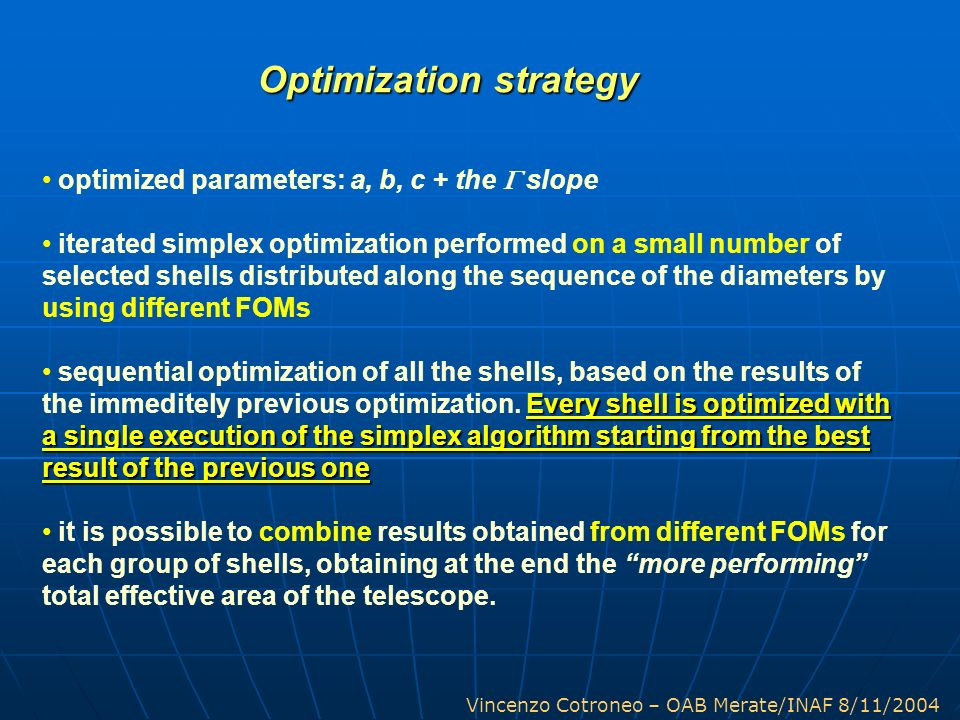 Optimization strategy
