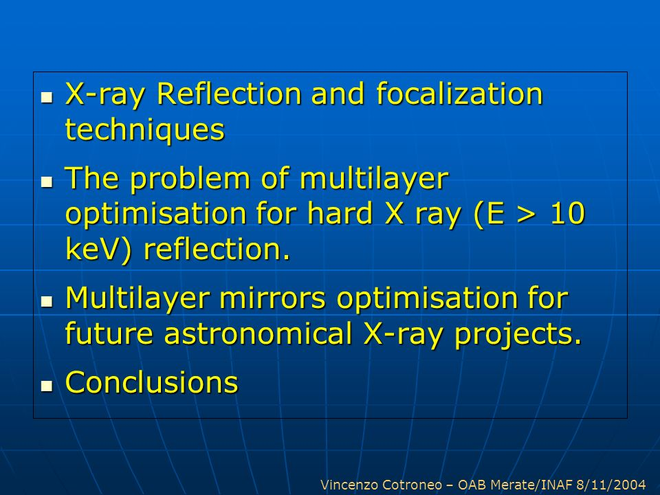 X-ray Reflection and focalization techniques