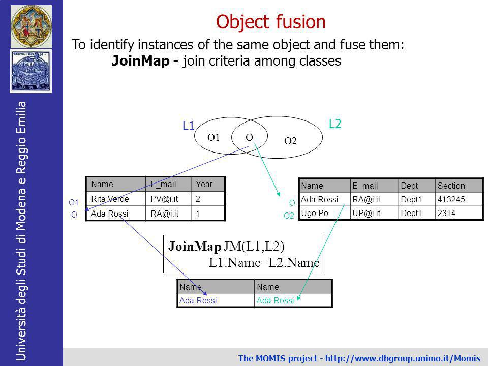 Object fusion To identify instances of the same object and fuse them: JoinMap - join criteria among classes.