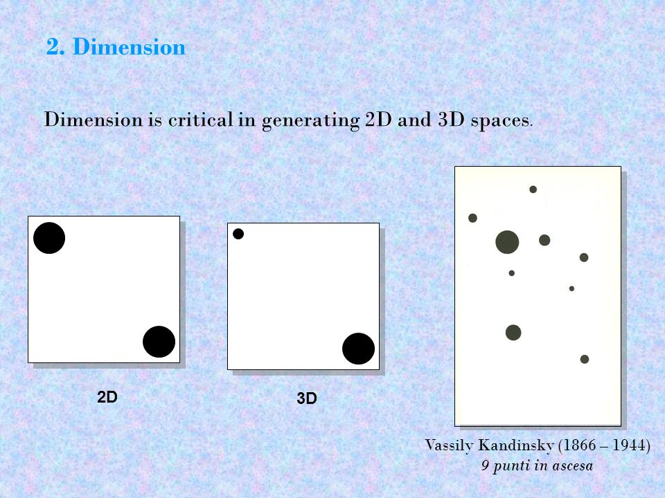2. Dimension Dimension is critical in generating 2D and 3D spaces. 2D