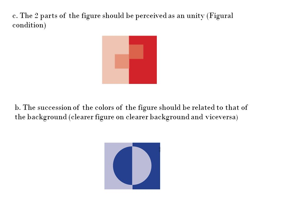 c. The 2 parts of the figure should be perceived as an unity (Figural condition)