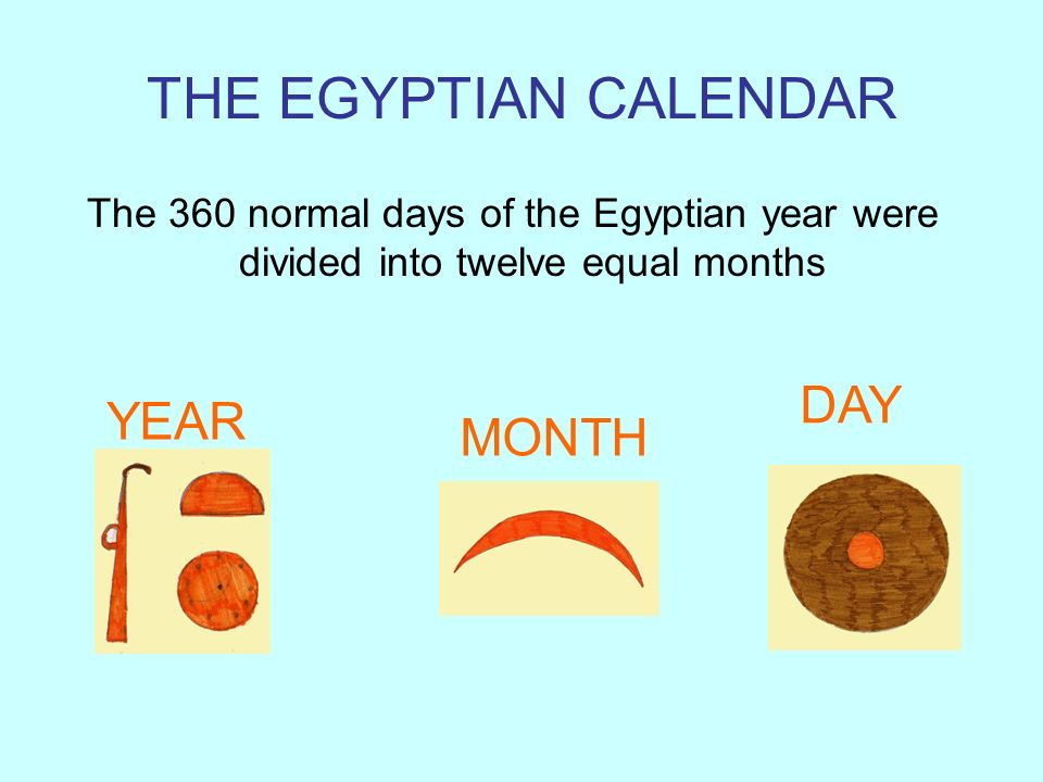 THE EGYPTIAN CALENDAR DAY YEAR MONTH