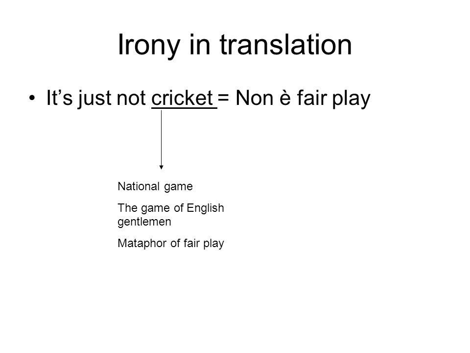 Irony in translation It's just not cricket = Non è fair play