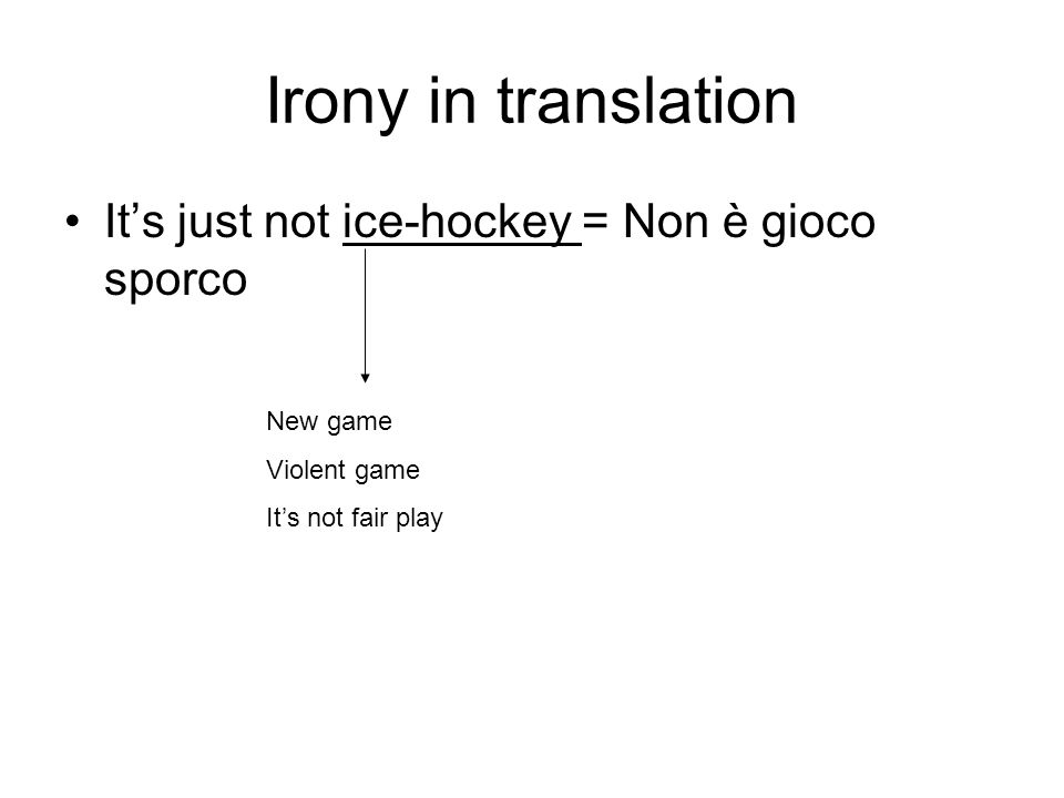 Irony in translation It's just not ice-hockey = Non è gioco sporco