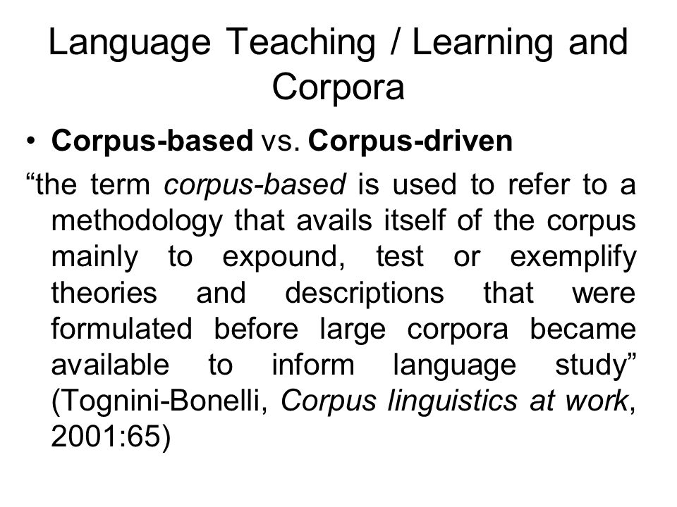 Language Teaching / Learning and Corpora
