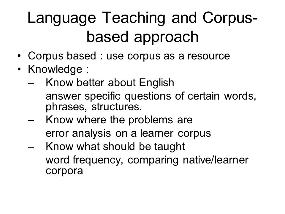 Language Teaching and Corpus-based approach