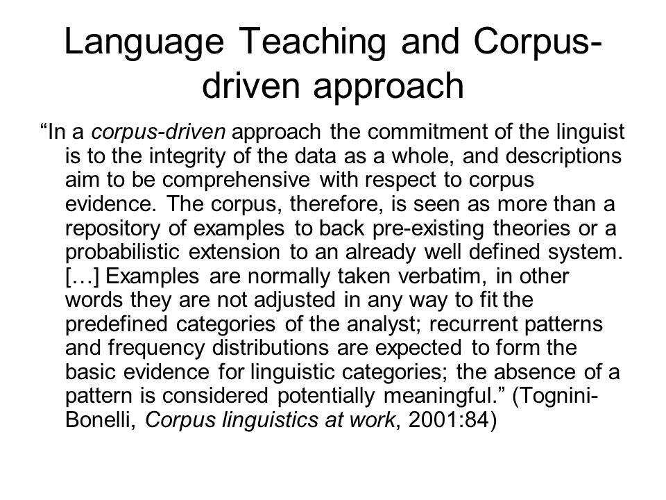 Language Teaching and Corpus-driven approach