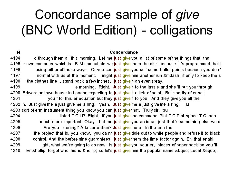 Concordance sample of give (BNC World Edition) - colligations
