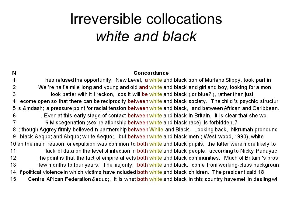 Irreversible collocations white and black