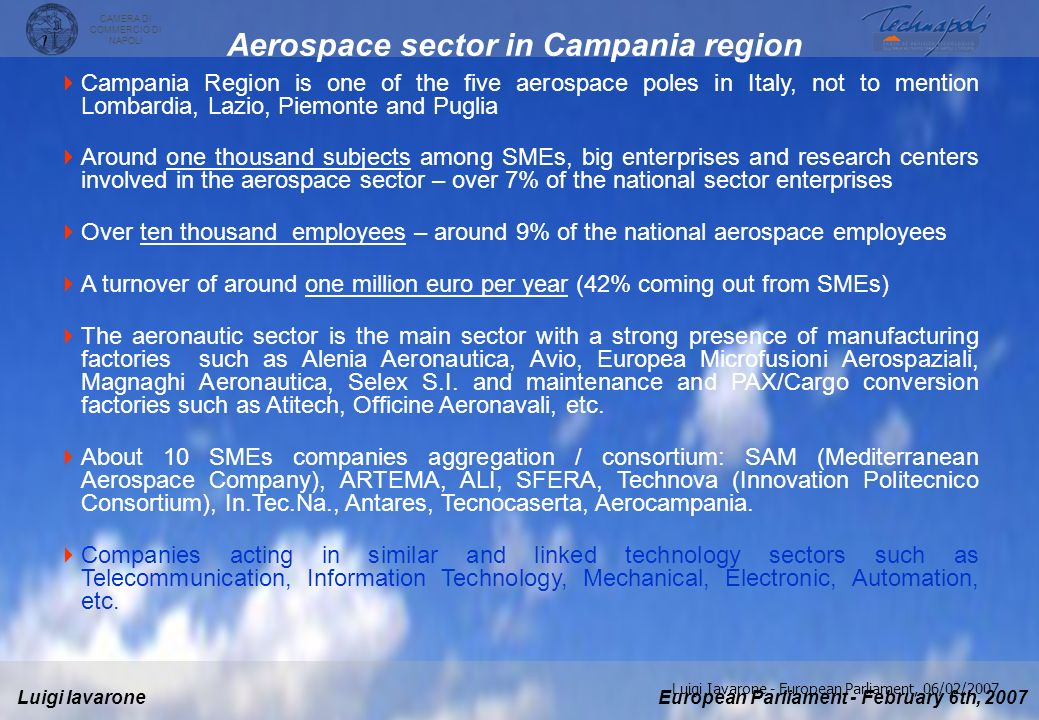 Aerospace sector in Campania region