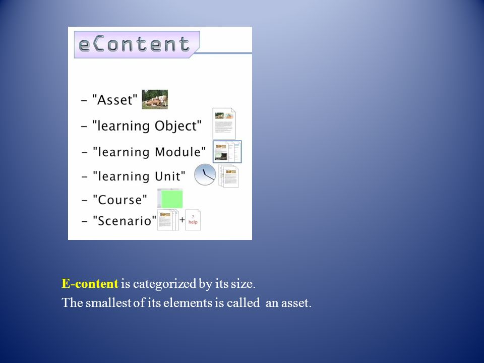 E-content is categorized by its size.