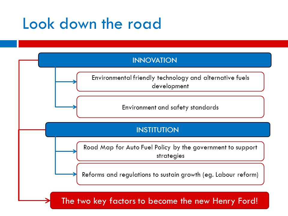Look down the road The two key factors to become the new Henry Ford!