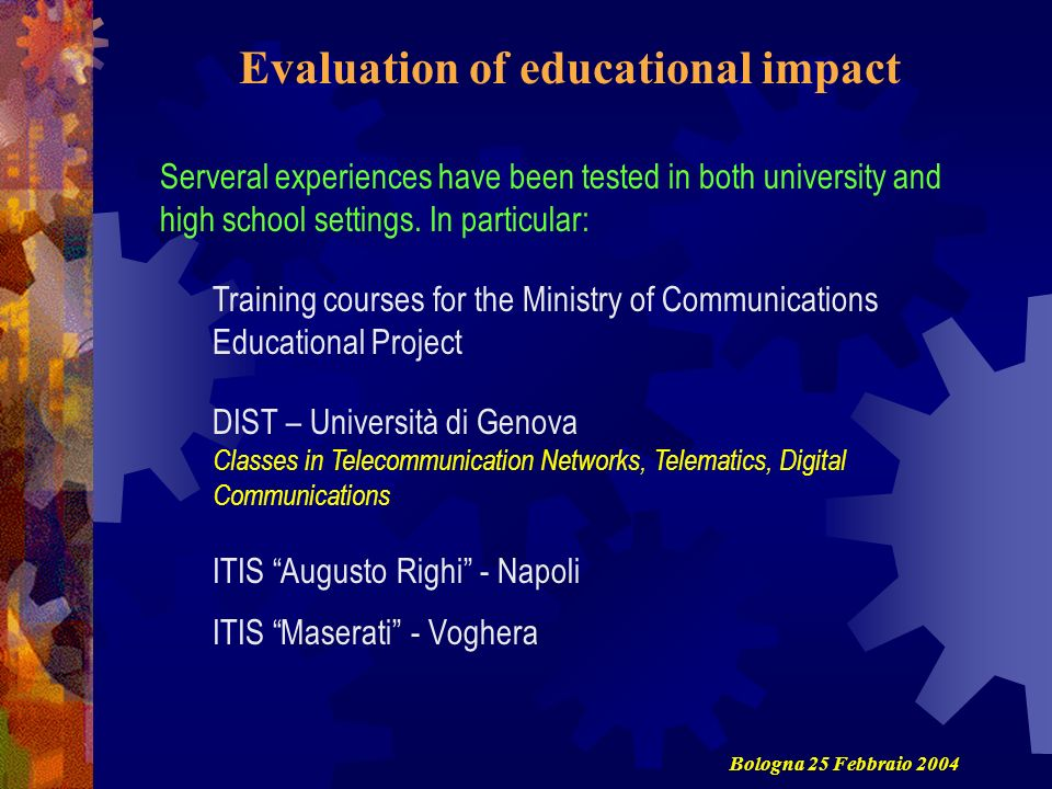 Evaluation of educational impact