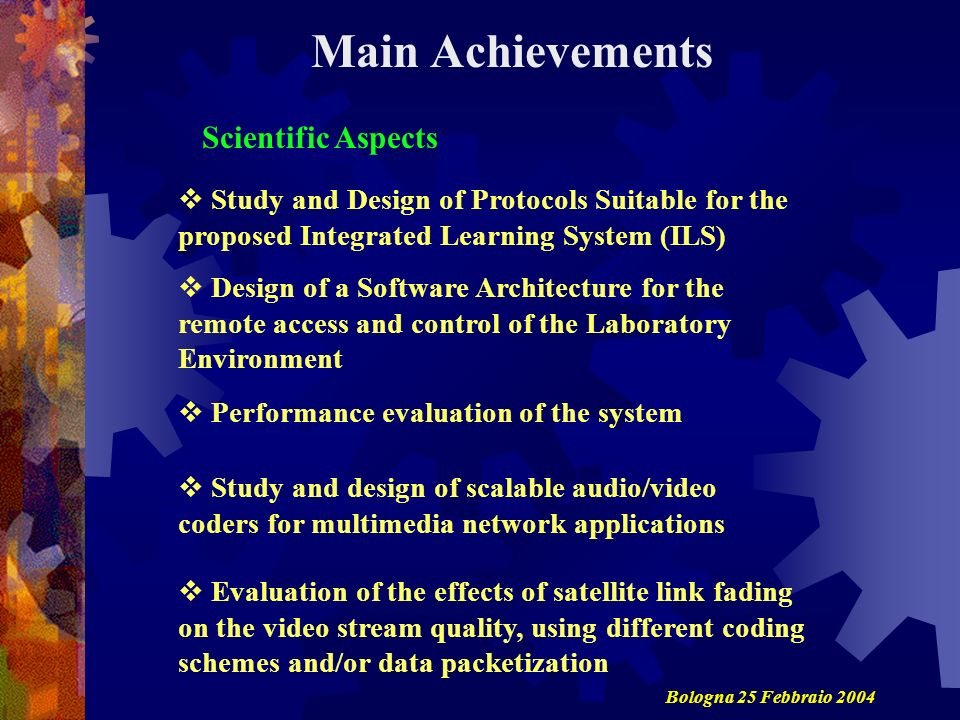 Main Achievements Scientific Aspects