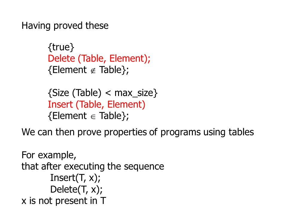 Having proved these {true} Delete (Table, Element); {Element  Table}; {Size (Table) < max_size}