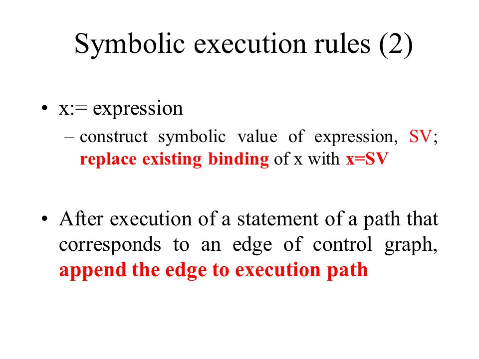 Symbolic execution rules (2)