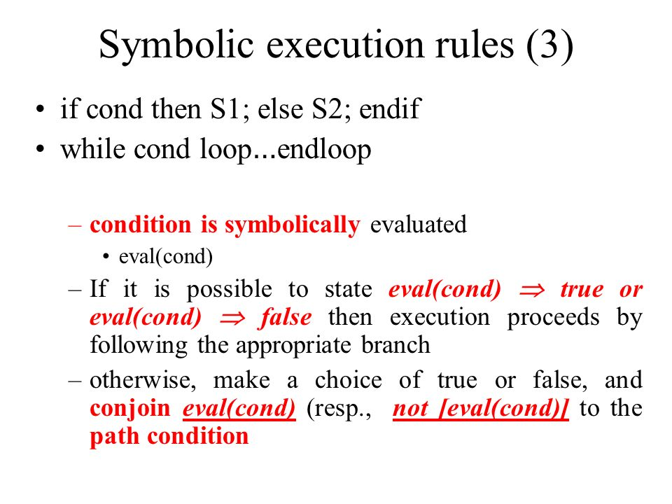 Symbolic execution rules (3)