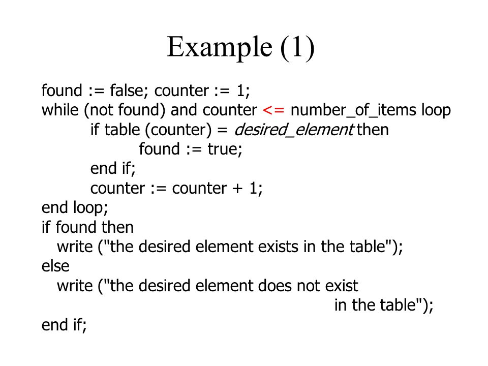 Example (1) found := false; counter := 1;