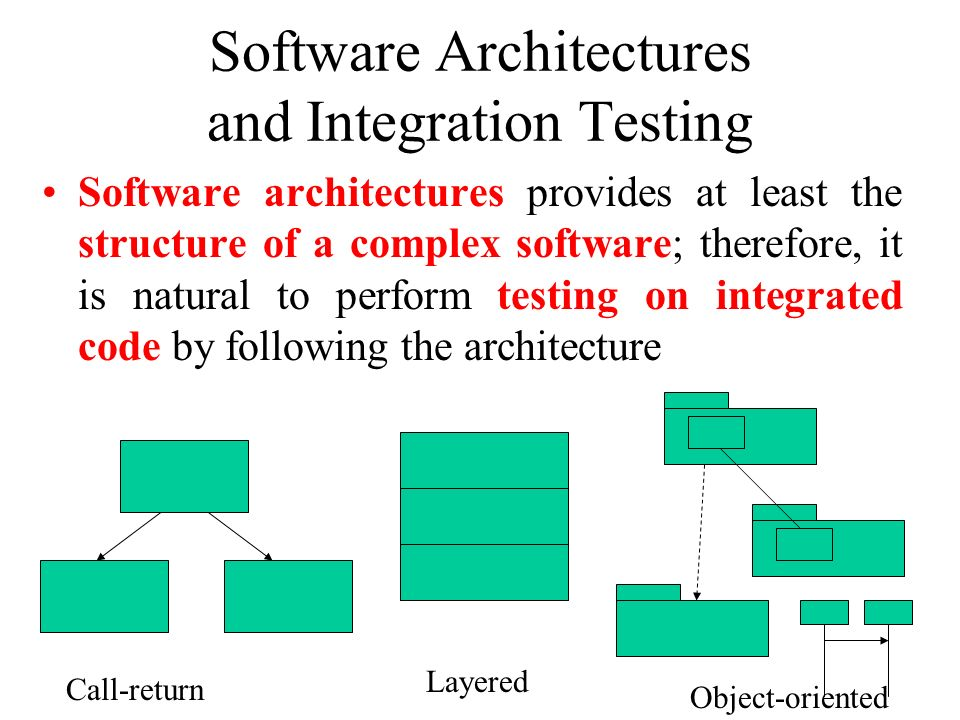 Software Architectures and Integration Testing