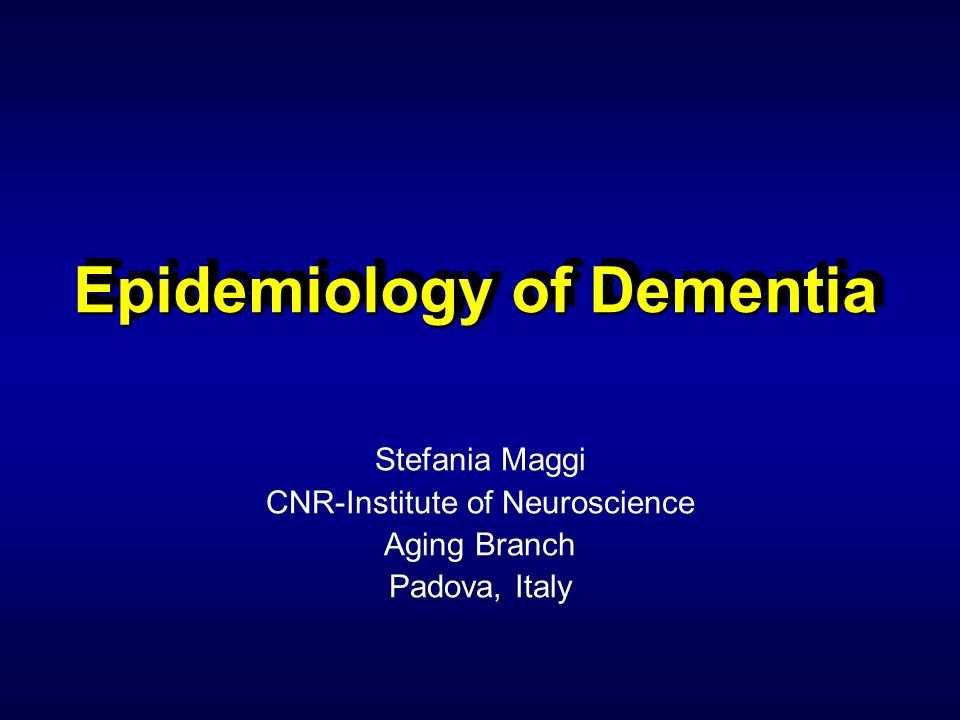 Epidemiology of Dementia