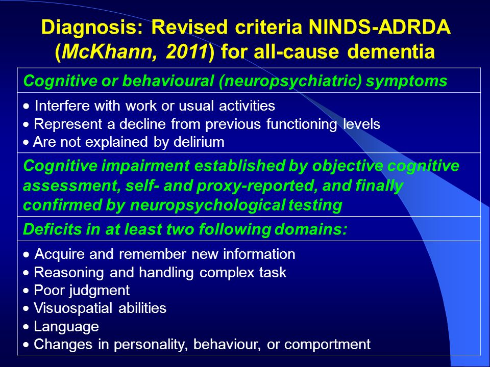 Diagnosis: Revised criteria NINDS-ADRDA (McKhann, 2011) for all-cause dementia
