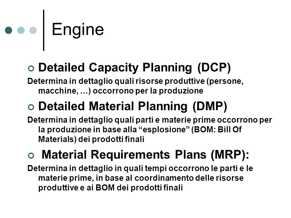 Engine Detailed Capacity Planning (DCP)