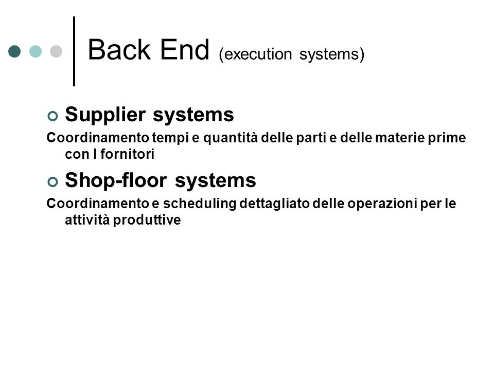 Back End (execution systems)