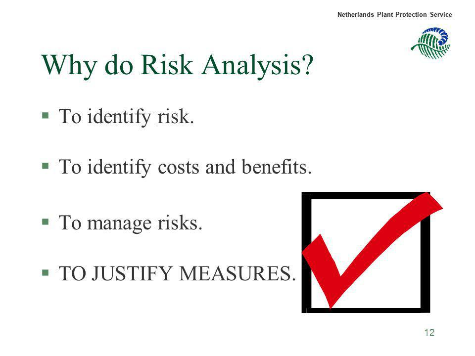 Why do Risk Analysis To identify risk.