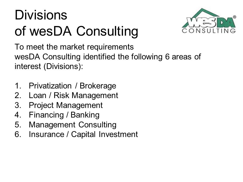 Divisions of wesDA Consulting
