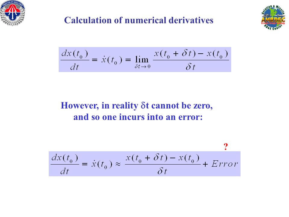 Calculation of numerical derivatives