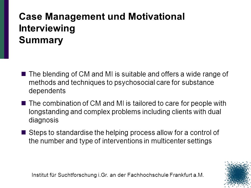 Case Management und Motivational Interviewing Summary