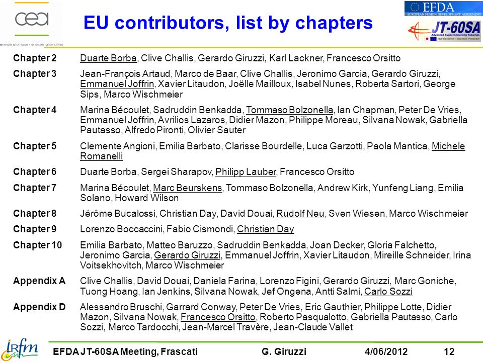 EU contributors, list by chapters
