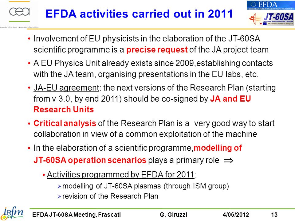 EFDA activities carried out in 2011