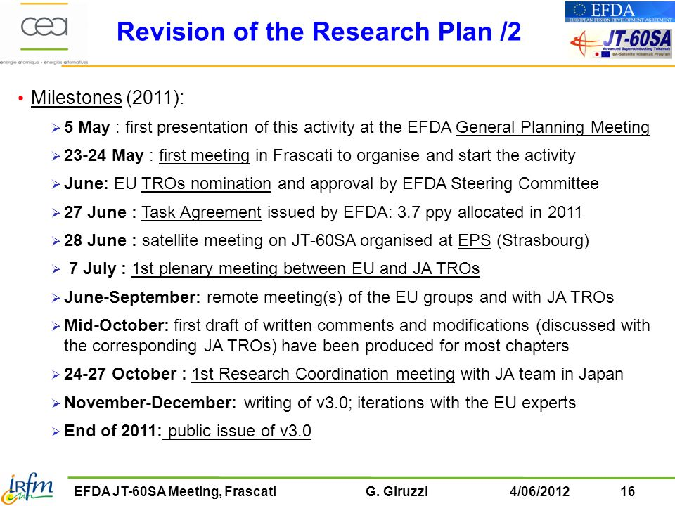Revision of the Research Plan /2