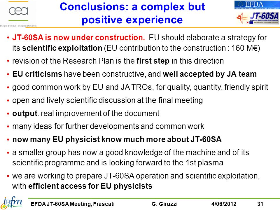 Conclusions: a complex but positive experience