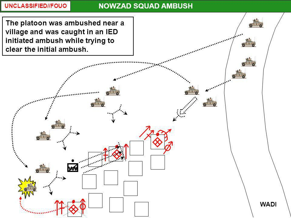 NOWZAD SQUAD AMBUSH The platoon was ambushed near a village and was caught in an IED initiated ambush while trying to clear the initial ambush.